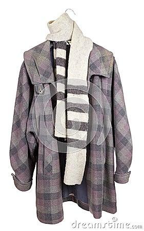 Women s checkered tweed coat