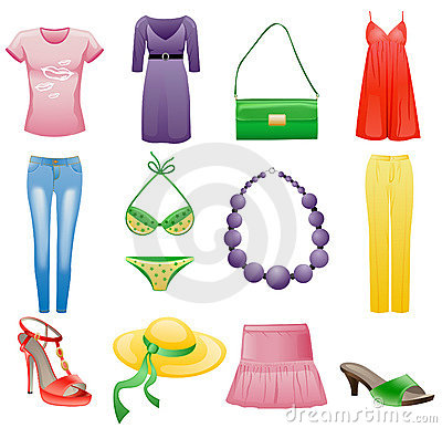 Women s clothes and accessories summer icon set.
