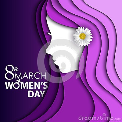 Free Women S Day Greeting Card With Flower In Ear On Purple Background With Design Of A Women Face And Text 8th March Women Day Stock Images - 67886684