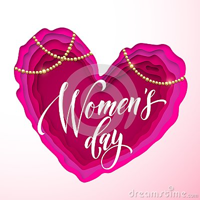 Free Women`s Day Text On Pink Paper Cut Heart Background. Vector 8 March Greeting Card For Mother`s Day. Papercut Heart Royalty Free Stock Photo - 111047055