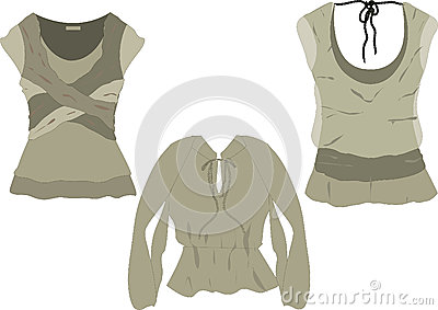 Women s fashion tops  sketches