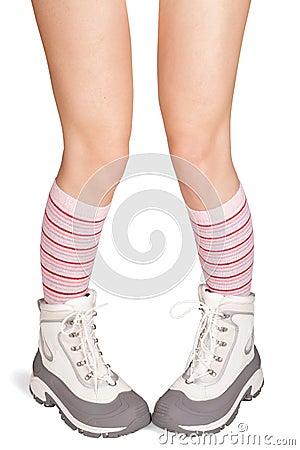 Women s feet in winter boots