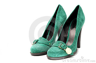 Women s Green Suede high Heel Shoes