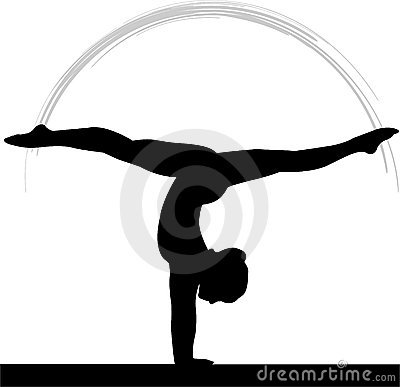 Womens Gymnastics Balance Beam Cartoon Illustration
