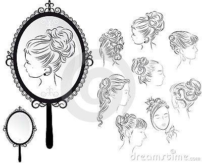 Hair Style Mirror : Womens Hairstyles, Mirror Royalty Free Stock Images - Image: 18645169