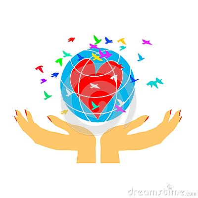Free Women`s Hands Embrace The Globe. Love For Planet Earth. A Symbol Of Caring. Ecology. Royalty Free Stock Images - 125186989