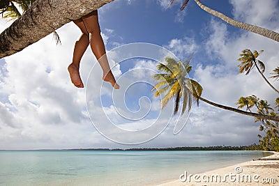 Women s legs on white sand beach