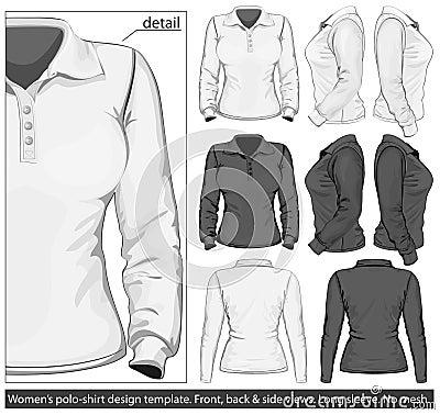 Women s polo-shirt design template. Long sleeve