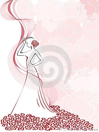 Women s  silhouette on pink