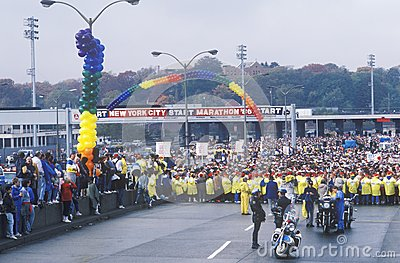 Women s starting line at NY City Marathon Editorial Stock Photo