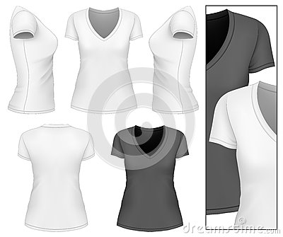 women 39 s v neck t shirt stock vector image 47544140. Black Bedroom Furniture Sets. Home Design Ideas