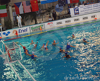 Women s water polo. Final Italy-Russia Editorial Stock Photo