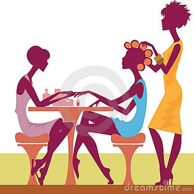 Women in a salon getting a hairstyle and manicure