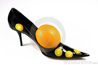 Women shoe with orange