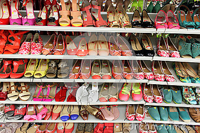 Shoe rack in Top Shoes on Westwood Blvd