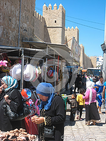 Women shopping at the Souk. Sousse. Tunisia