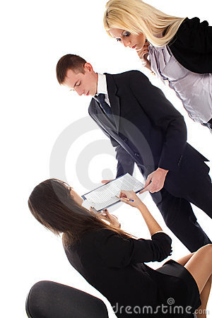 Women show in document to bussines men and women