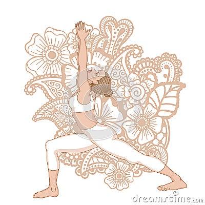 Women Silhouette Warrior 1 Yoga Pose Virabhadrasana Vector Illustration