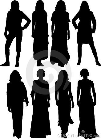 Free Women Silhouettes Royalty Free Stock Photography - 9683007