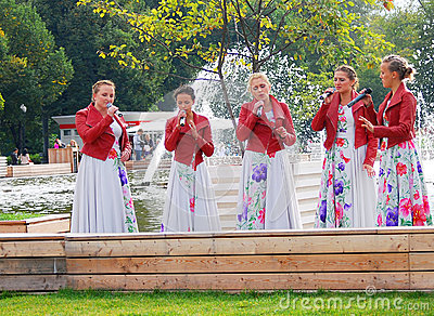 Women singers perform in the park Editorial Stock Photo