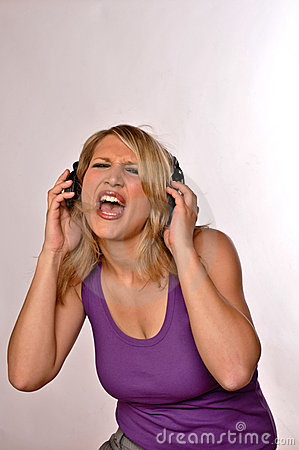 Women Singning With Headphones