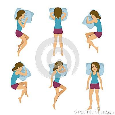 Women sleeping positions vector illustration. Woman sleep poses in bed Vector Illustration