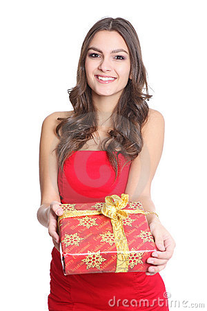 Women smiling with a gift in her hand