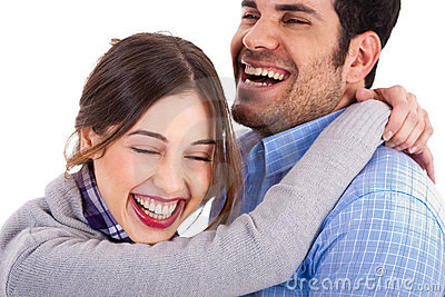Women smiling on his boyfriend shoulders
