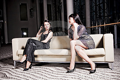 Women on sofa