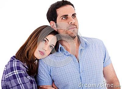 Women soothing herself on her boyfriend shoulders