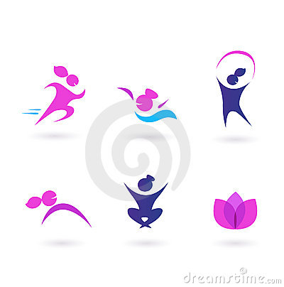 Free Women, Sport And Wellness Icons - Pink And Blue Stock Photos - 18134023