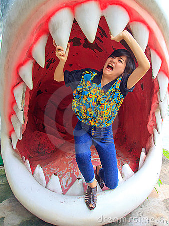 Free Women Standing In Jaws Of Shark Stock Images - 22204344