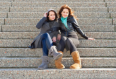 Women on steps