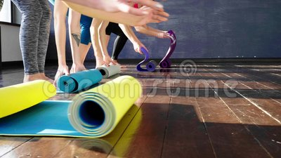 Women Stretching and Relaxing in Yoga Class.  stock video