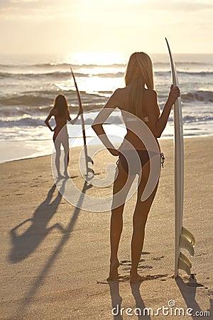 Women Surfers In Bikini & Surfboards Sunset Beach