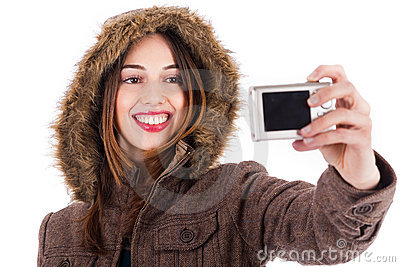 Women taking pic of herself with camera