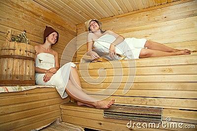 Women taking steam bath