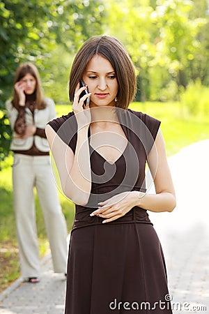 Women talks on phone
