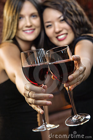 Free Women Toasting Wine Glasses Stock Photography - 4997532