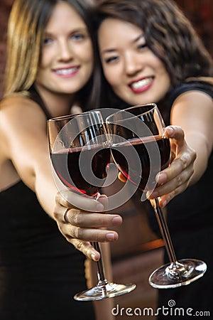 Free Women Toasting Wine Glasses Stock Photography - 4997532