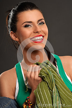 Women with toothy smile