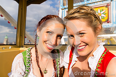 Women in traditional Bavarian dirndl on festival