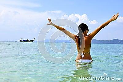 Women on tropical exotic beach
