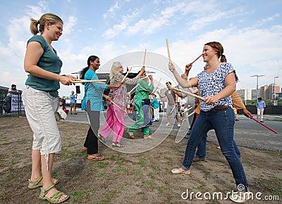 Women Trying Dandiya Editorial Photo