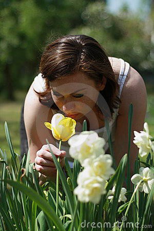 Women and  a tulip