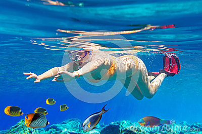 Women underwater in Aegean Sea