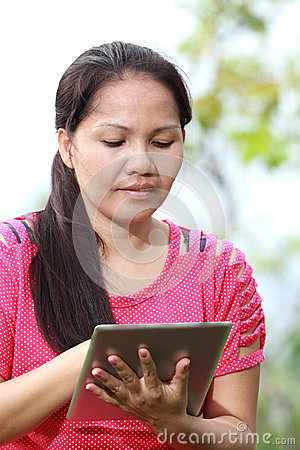Women using tablet