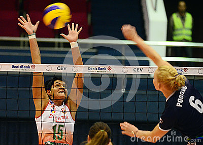 Women volleyball players pictured in action during Champions League game