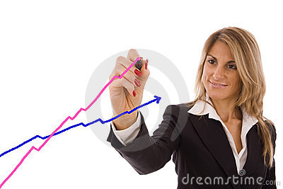 Women drawing chart going up to success