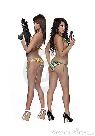Women wearing bikini s holding guns